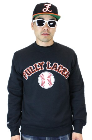 The Fully Laced x Mitchell & Ness Baseball Crewneck Sweatshirt (Black)