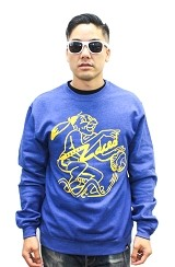Fully Laced Warrior Crewneck Sweatshirt (Heather Blue/Yellow)