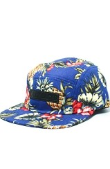Day Hawaiian Floral Print Bar Logo Five Panel Hat (Blue)