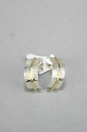 The Tribute Collection Feather Loop Earrings (Silver/Gold)